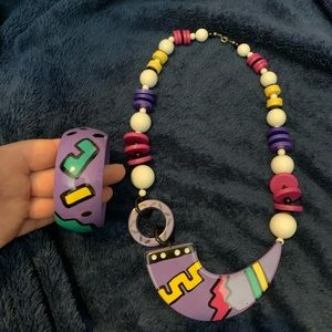 Vintage Colorful Necklace and Bracelet